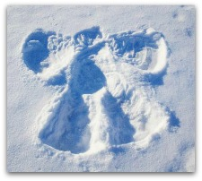 snow angel in the white snow