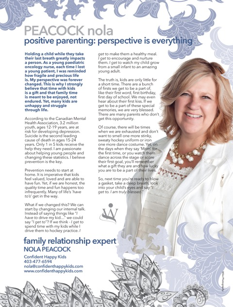 copy of page/article from Nola on positive parenting - published in the womantion magazine - pediatric oncology nurse
